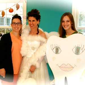 Tooth Fairy with hygienists at Little Sprouts Pre-School