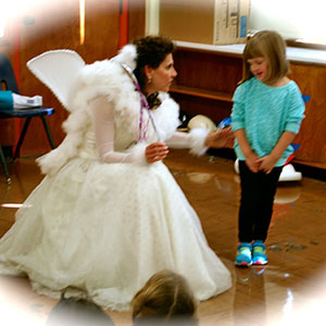 Tooth Fairy with little girl at Memorial Pre-School